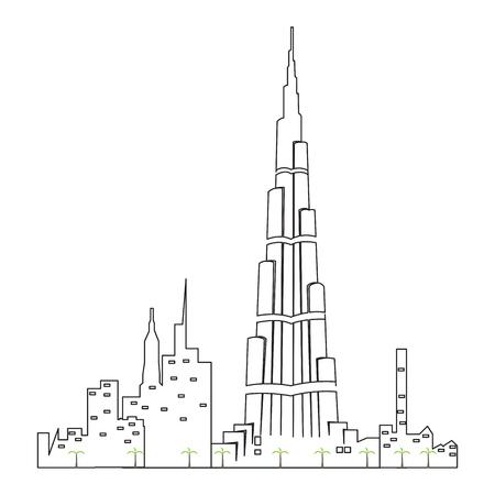 Illustration pour Dubai cityscape isolated illustration. - image libre de droit