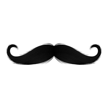 Illustrazione per Isolated silhouette of moustache. Vector illustration design - Immagini Royalty Free