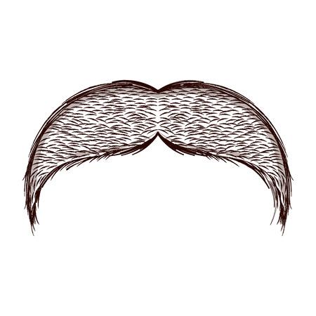 Illustrazione per Isolated sketch of moustache. Vector illustration design - Immagini Royalty Free