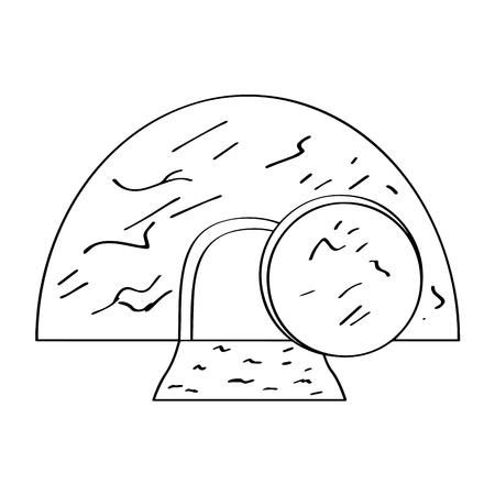 Illustration pour Isolated Jesus tomb outline. Vector illustration design - image libre de droit
