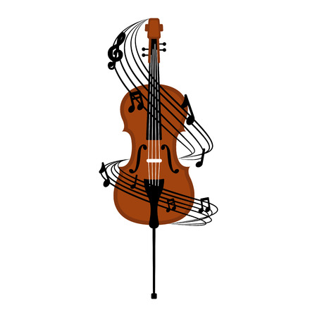 Illustration pour Isolated cello with a musical pentagram around. Vector illustration design - image libre de droit