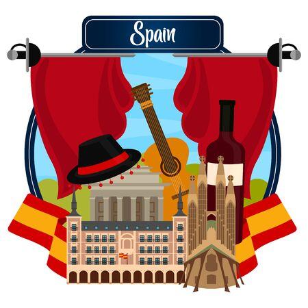 Ilustración de Travel to Spain poster with traditional buildings and objects - Vector illustration - Imagen libre de derechos