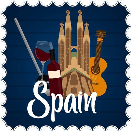 Ilustración de Travel to Spain poster with the Sagrada Familia church - Vector - Imagen libre de derechos