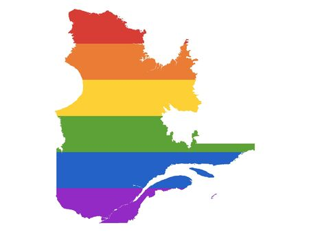 Illustration pour Rainbow LGBT Pride Map of Canada's Province of Quebec - image libre de droit