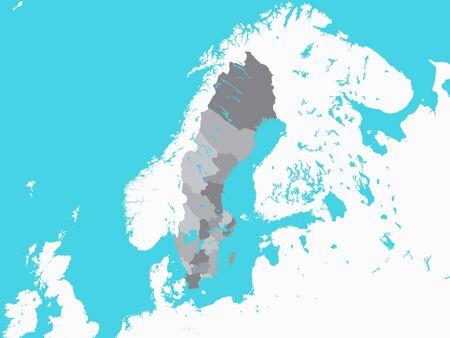 Illustration pour Grey Map of Regions of Sweden with Surrounding Terrain - image libre de droit