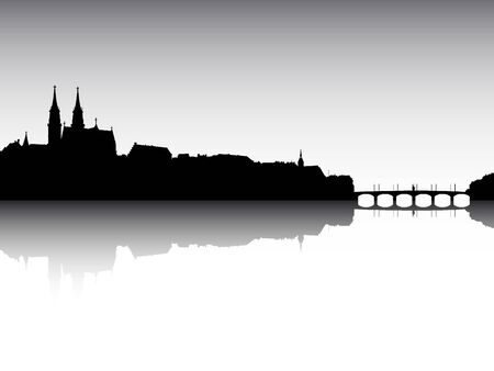 Illustration pour Panoramic Silhouette Skyline of the City of Basel, Switzerland - image libre de droit