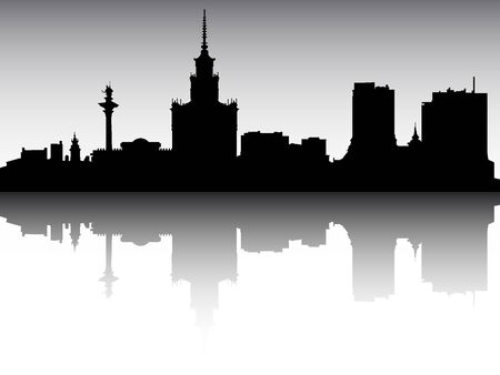 Illustration pour Panoramic Silhouette Skyline of the City of Warsaw, Poland - image libre de droit