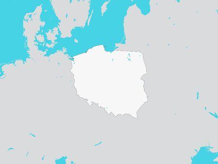 Illustration pour White Map of Poland with Surrounding Terrain - image libre de droit
