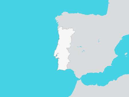 Illustration pour White Map of Portugal with Surrounding Terrain - image libre de droit