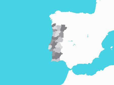 Illustration pour Gray Map of Regions of Portugal with Surrounding Terrain - image libre de droit
