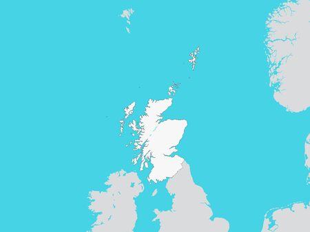 Illustration pour White Map of Scotland with Surrounding Terrain - image libre de droit