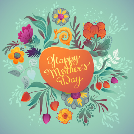 Illustration pour Happy mother's day hand-drawn calligraphy. Happy Mothers Day Typographical Background With Spring Flowers - image libre de droit