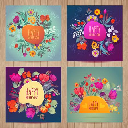 Illustration pour Happy Mothers's Day greeting card - image libre de droit