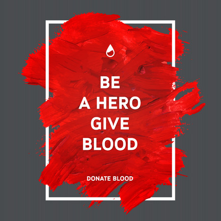 Illustration pour Creative Donate blood motivation information donor poster. Blood Donation. World Blood Donor Day banner. Red stroke and text. Medical design elements. Grunge texture. - image libre de droit