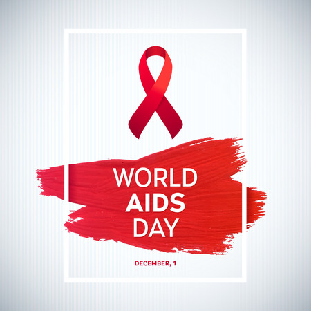 Illustration for World Aids Day concept with text and red ribbon of aids awareness. 1st December. Red brush stroke poster - Royalty Free Image