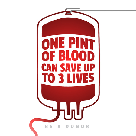 Illustration for Creative Blood Motivation Information Donor Poster. Blood Donation. World Blood Donor Day banner. Red Blood Bag and Text. Medical design elements. Be a donor - Royalty Free Image