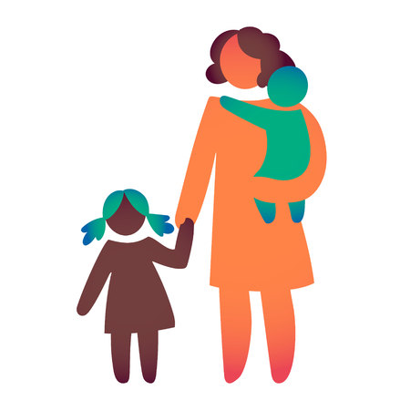 Ilustración de Happy Single Parent and Baby. Icon multicolored in simple figures. Symbol of single parenthood. Vector can be used as logotype. - Imagen libre de derechos
