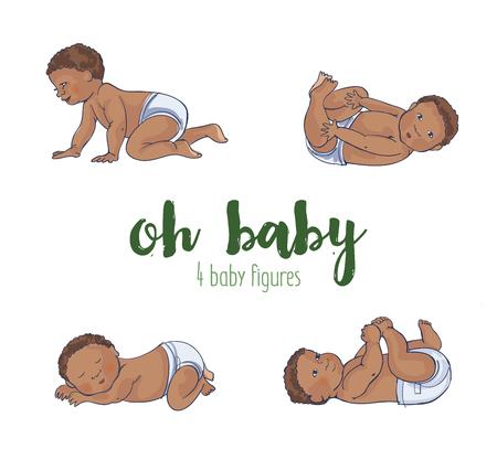 Ilustración de Set of four cute African baby illustrations. Four different hand drawn adorable babies - Imagen libre de derechos