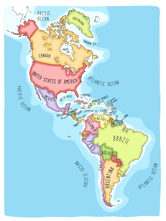 Illustration pour Hand drawn vector map of the Americas. Colorful cartoon style cartography of north and South America including United States, Canada, Mexico, Brazil, Argentina, Cuba, Colombia, Venezuela... - image libre de droit