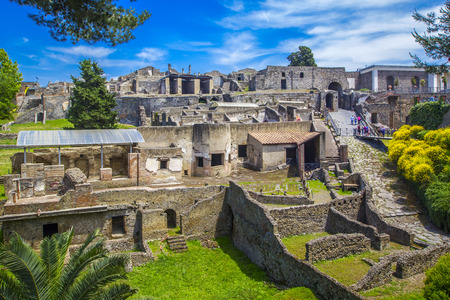 Photo for Panoramic view of the ancient city of Pompeii with houses and streets. Pompeii is an ancient Roman city died from the eruption of Mount Vesuvius in the 1st century. Naples, Italy. - Royalty Free Image