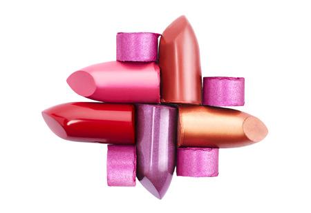 Photo pour Several different lipsticks isolated on white background - image libre de droit