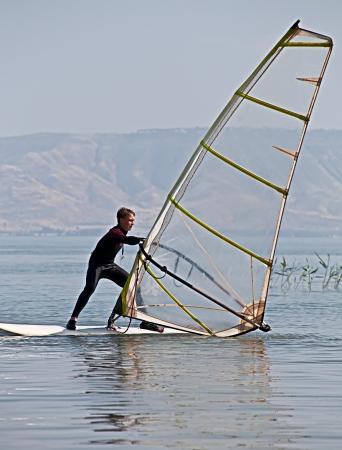 Windsurfing on Lake Kinneret. Spring. Israel.