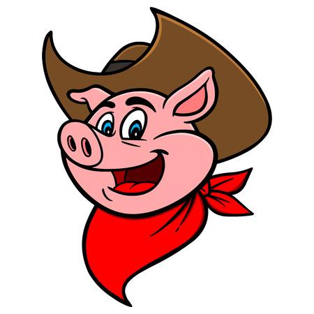 Ilustración de Cowboy BBQ Pig - Imagen libre de derechos