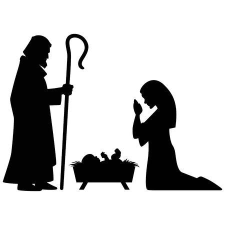 Illustrazione per Mary, Joseph and Jesus - Immagini Royalty Free