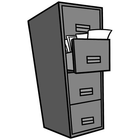 Illustration pour Filing Cabinet Illustration - A vector cartoon illustration of a office Filing Cabinet. - image libre de droit