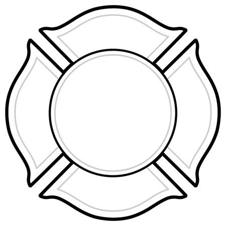 Illustration pour Black And White Firefighter icon - image libre de droit