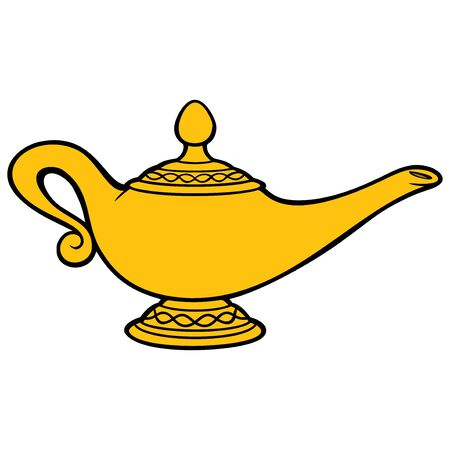 Illustrazione per Genie Lamp - A cartoon illustration of a Genie Lamp. - Immagini Royalty Free
