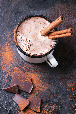 Photo for Vintage mug of hot chocolate with cinnamon sticks over dark background - Royalty Free Image