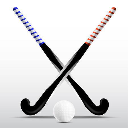 Illustration pour Two sticks for field hockey and ball on a white background - image libre de droit