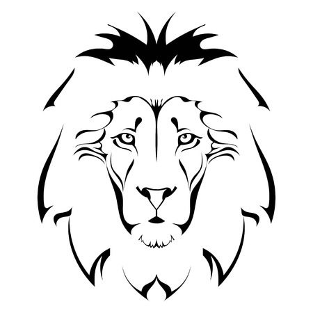 Illustration for Lion head. Tattoo - Royalty Free Image