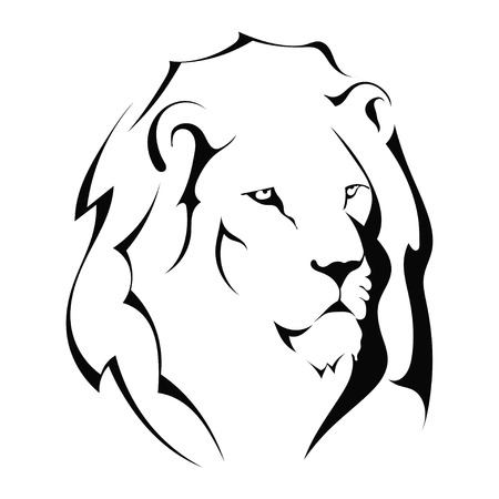 Illustration for Lion head on a white background.  - Royalty Free Image