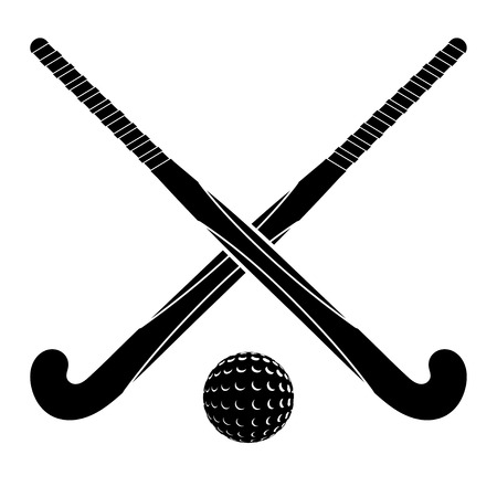 Illustration pour Two black silhouettes sticks for field hockey and ball on a white background.  - image libre de droit