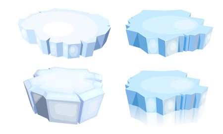 Illustration for Set of ice floes.  Cartoon image of a blue ice floe on a white background. Vector illustration - Royalty Free Image