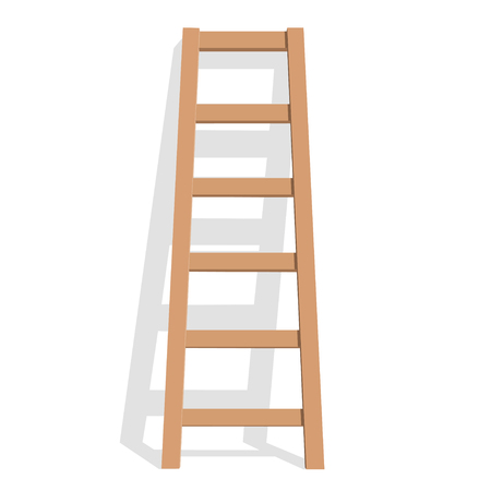 Illustration pour Realistic wooden ladder on a white background. Vector Illustration - image libre de droit