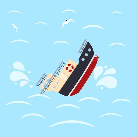 Illustration pour Color image for design ship in sea waves. Shipwreck on a blue background. Sea catastrophe. Vector illustration - image libre de droit