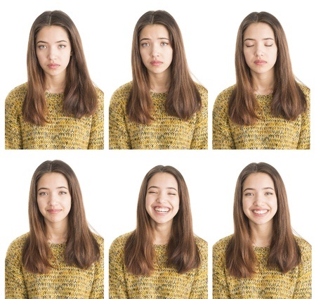 Various emotions in portrait collection of beautiful teenage girl