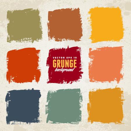 Illustration pour Grunge ink hand-drawn colorful squares - image libre de droit