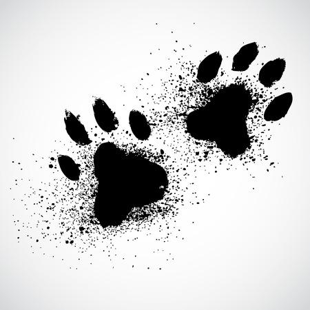 Illustration pour Grunge dog paws - image libre de droit