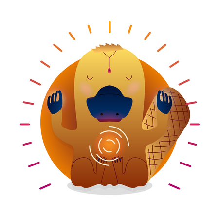 Illustrazione per Vector funny cute Platypus sitting in yoga lotus pose and relaxing meditates. Adorable cartoon animal illustration. Art for design posters, t-shirts, invitations - Immagini Royalty Free