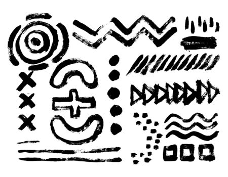 Ilustración de Vector set of black brush strokes. Editable isolated elements. Grunge brushes for your design. Freehand. Watercolor splash. Acrylic stamp. Monochrome geometric simple drawing. - Imagen libre de derechos