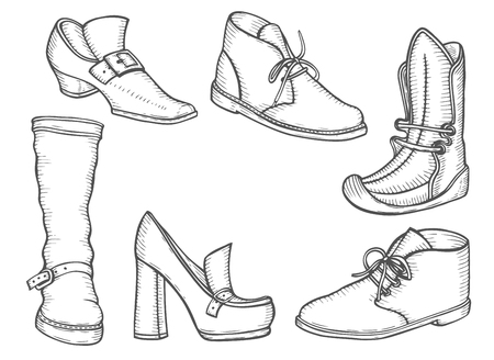 Ilustración de Male and female boot set illustration. Winter and summer shoes in classic style, drawing, engraving, ink, line art. Vector illustration. - Imagen libre de derechos