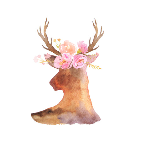 Photo for Watercolor deer head with antlers, flowers, leaves and herbs  in romantic rustic style. Boho chic composicion perfect for floral wedding design projects - Royalty Free Image