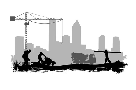 Photo pour construction workers on site illustration  - image libre de droit