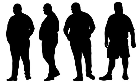 Illustrazione per set of fat people silhouettes - Immagini Royalty Free