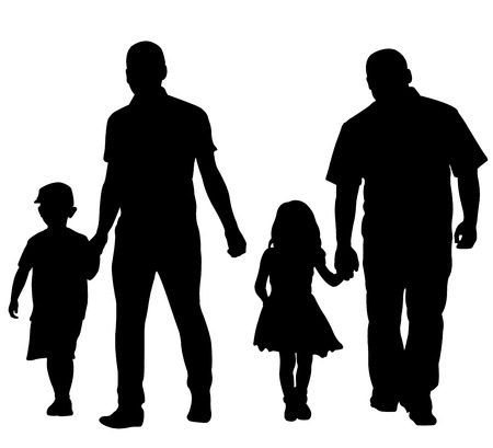 Illustration pour fathers with children isolated on white - image libre de droit