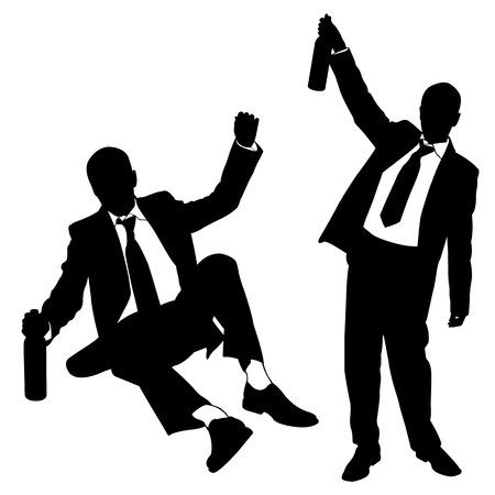 Illustration pour silhouettes of drunk men - image libre de droit